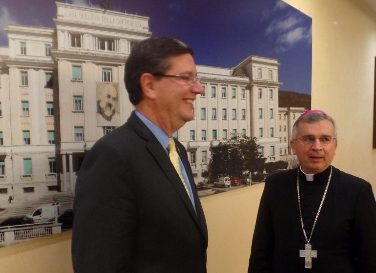 Jere Palazzolo with Archbishop Michele Castoro in San Giovanni Rotondo, Italy