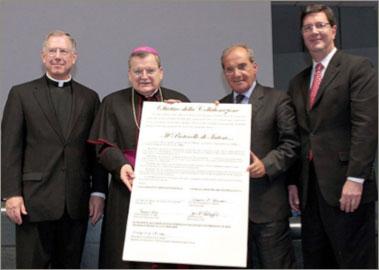 Collaboration Signing Celebration Msgr. Vernon Gardin, Cardinal Raymond Burke, Dott. Domenico Crupi & Jere Palazzolo