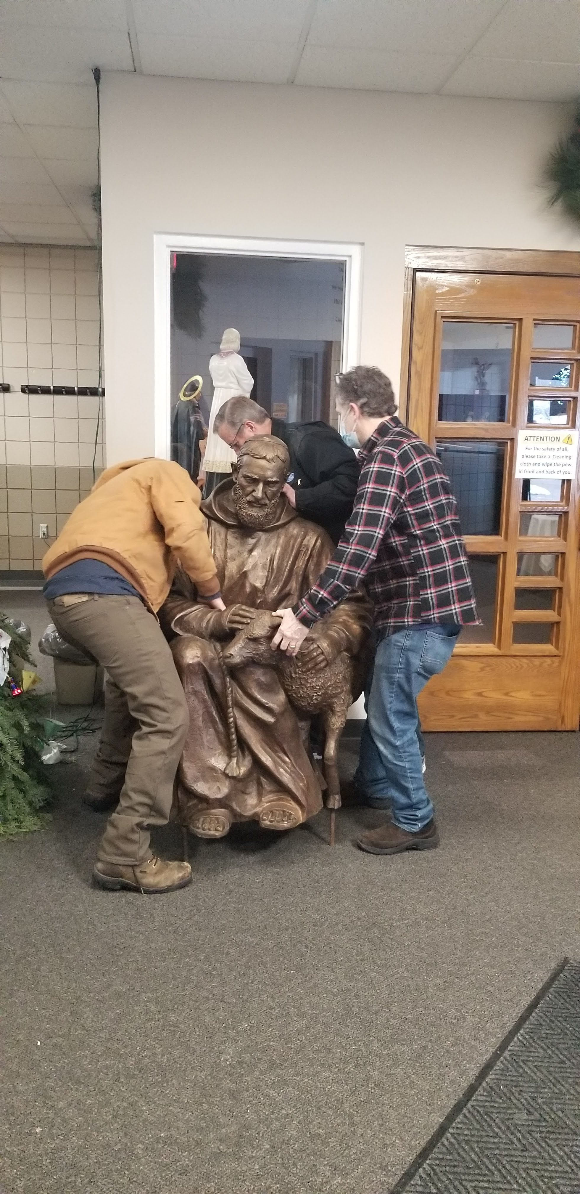 Young St Pio Statue is delivered to Holy Spirit