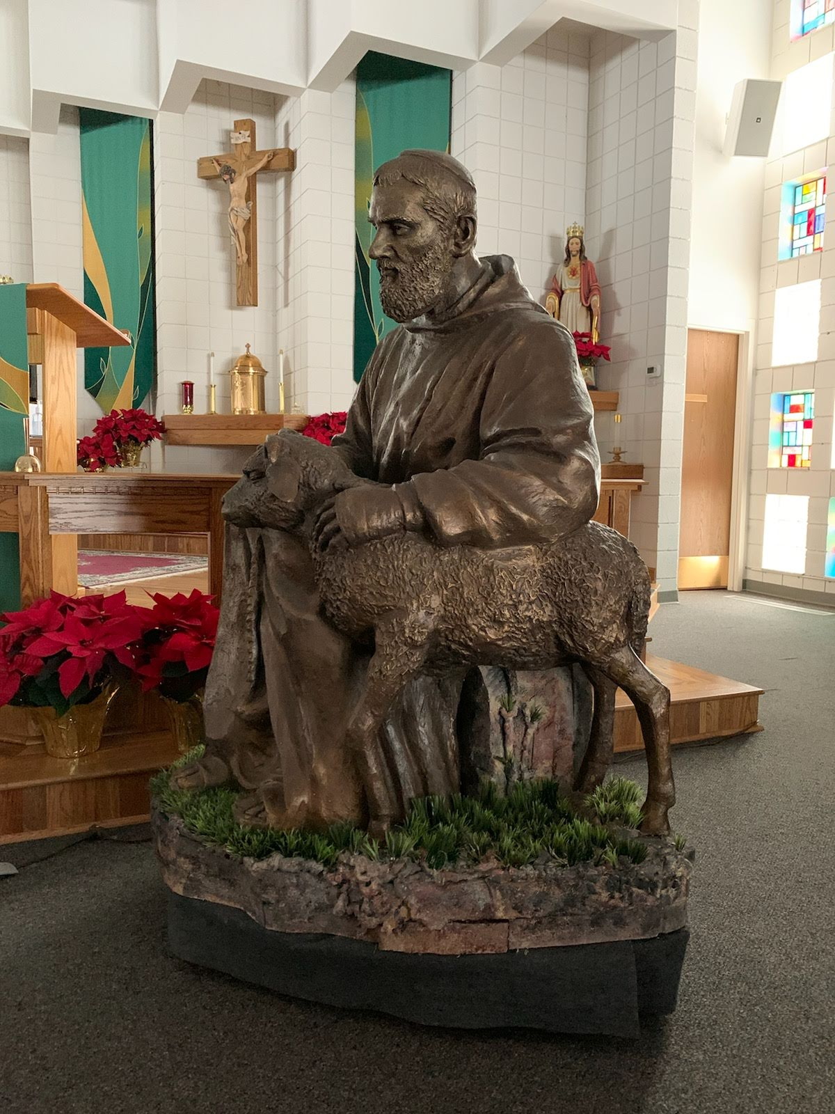 St Padre Pio Statue with decorative mobile base